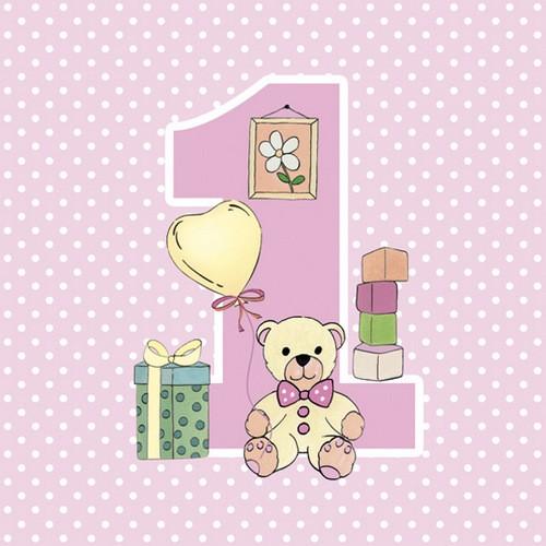 Maki Servietten First Birthday with Teddy Pink 33x33cm