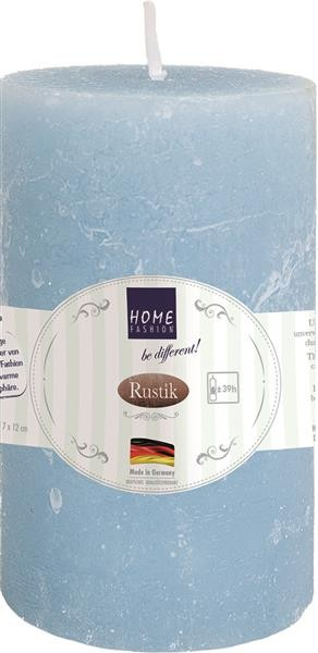 Kerze Stumpen Rustik light blue - hellblau Ø 7cm, Höhe 12cm