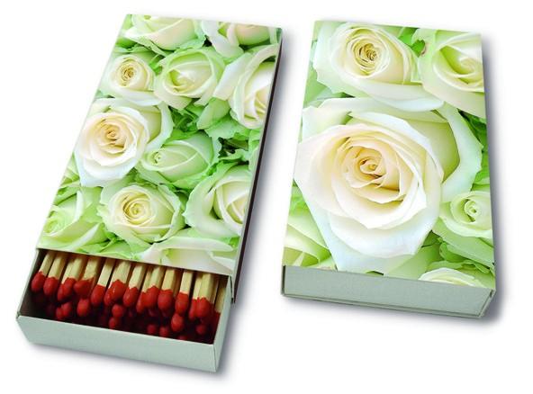 Kaminhölzer 45er Box White Roses - Weiße Rosen 11x6,3cm