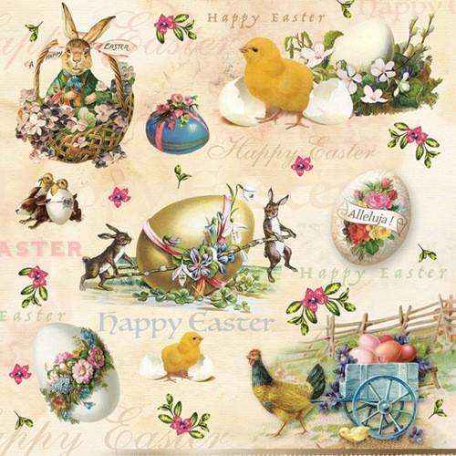 20 Servietten Happy Easter Animals – Tiere zu Ostern Vintage 33x33cm