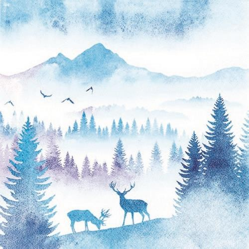 20 Servietten Deers in Mountains 33x33cm