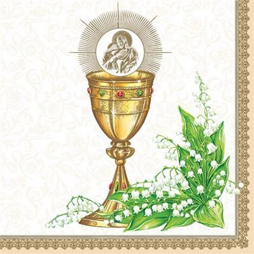 20 Servietten Chalice with Lilly of the Valley gold 33x33cm