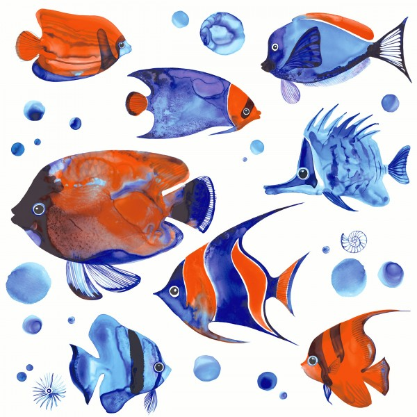 20 Cocktailservietten Tropical Fish – Exotische Fische 24x24cm