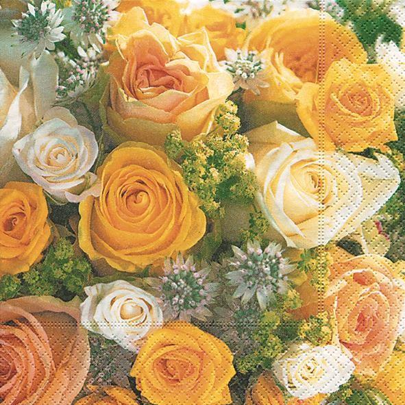 20 Servietten Bouquet of Roses - Gelber Rosenstrauß 33x33cm