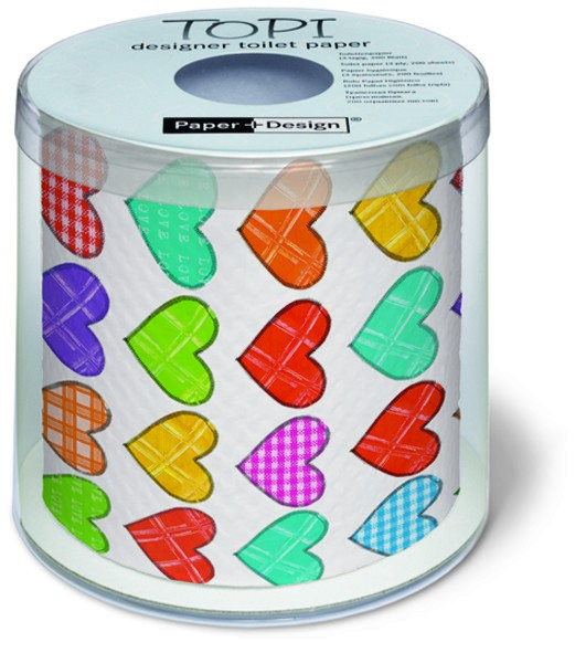 Toilettenpapier Rolle bedruckt Colourful hearts