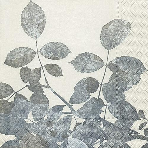 20 Servietten Silver Leaves 33x33cm