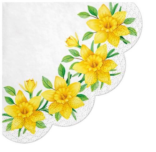 12 Servietten rund Daffodils in Bloom Ø32cm