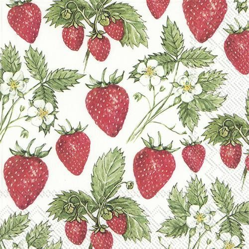 IHR Servietten Delicious Strawberries 33x33cm