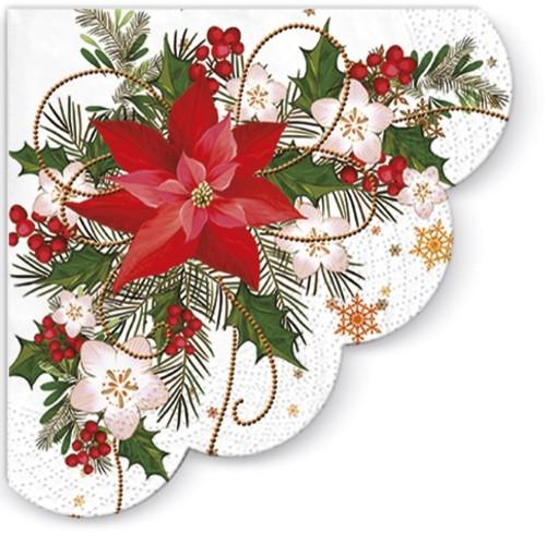 12 Servietten Rund Poinsettia Composition Weihnachtsstern Im Gesteck O32cm