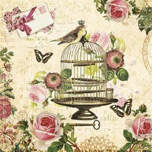 20 Servietten Bird on Vintage Cage 33x33cm