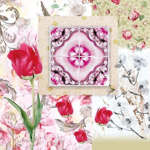 20 Servietten Maude - Blumen Komposition Vintage 33x33cm