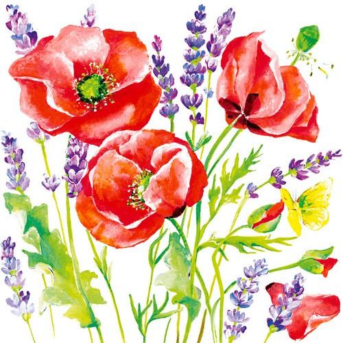 20 Servietten Poppy Flowers 33x33cm