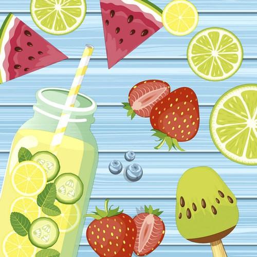 20 Servietten Summer Fruits 33x33cm