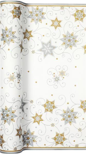 Tischläufer Stars and Swirls silver - Sterne & Wirbel silber 500x40cm