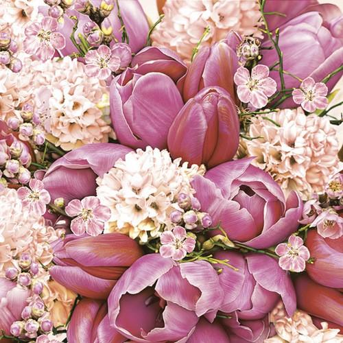 Daisy Servietten Cute Pink Bouquet 33x33cm