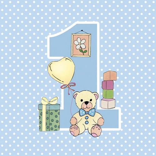 Maki 20 Servietten First Birthday with Teddy Blue 33x33cm