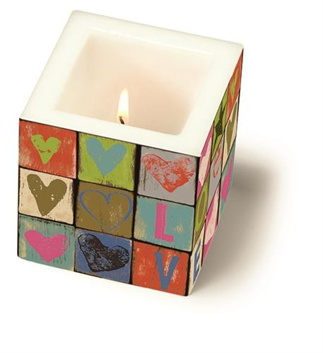RP Kerze eckig klein Love and Peace 8x8x8cm