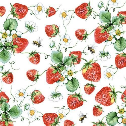 20 Servietten Strawberries all over 33x33cm