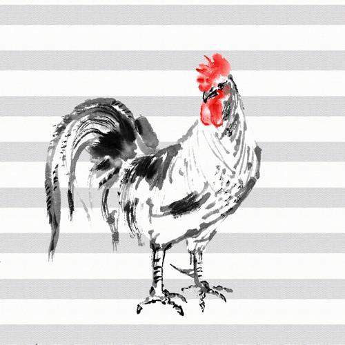 20 Servietten Rooster – Hahn auf Streifen 33x33cm