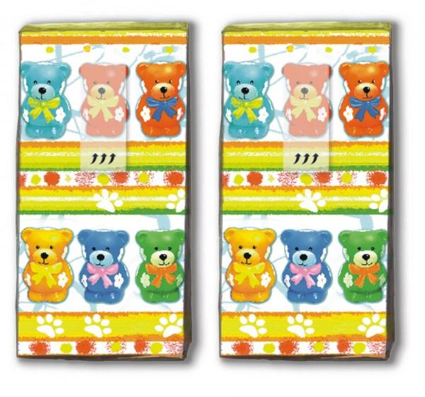 2x 10 Taschentücher Colourful Teddies - Bunte Teddys