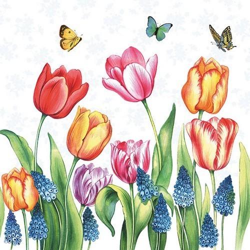 Ambiente Servietten Tulips & Muscari 33x33cm