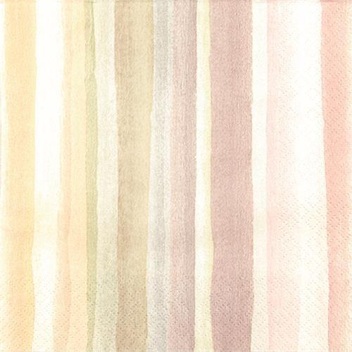 RP 20 Servietten Watercolours Pastel - Streifen Wasserfarben Pastell 33x33cm