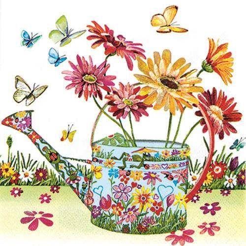 20 Servietten Flowery Can - Gießkanne mit Blumenmuster 33x33cm