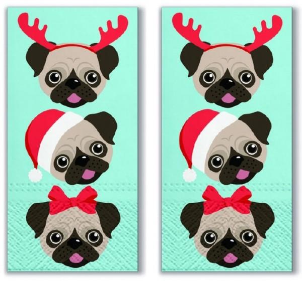 2x 10 Taschentücher Xmas Puppies - Weihnachtliche Welpen