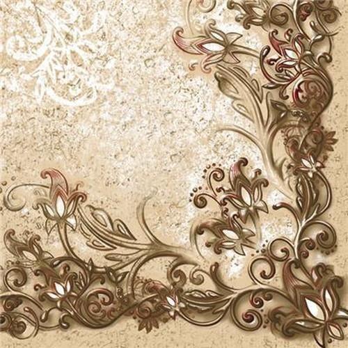 20 Servietten Floral Frame Pattern Red – Künstlerische Blumenbordüre 33x33cm