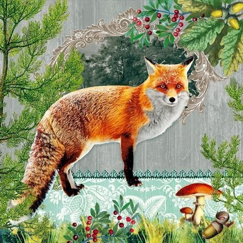 20 Servietten Fox Portrait 33x33cm