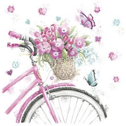 20 Servietten Pink Bicycle with Basket 33x33cm