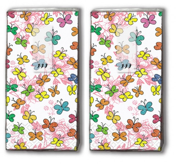 2x 10 Taschentücher Colourful Papillons - Farbenfrohe Schmetterlinge