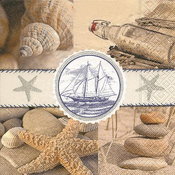 20 Servietten Souvenirs of the Sea - Andenken ans Meer 33x33cm