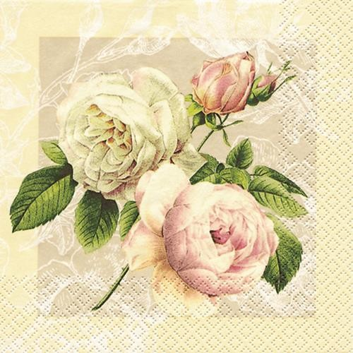 20 Servietten Cottage Rose 33x33cm