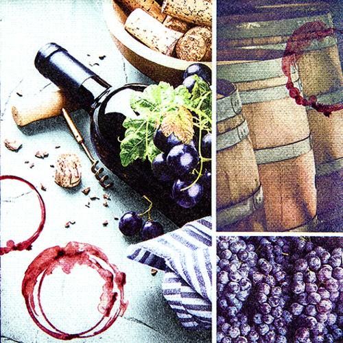 20 Servietten Red Wine Spirit - Rotwein Collage 33x33cm