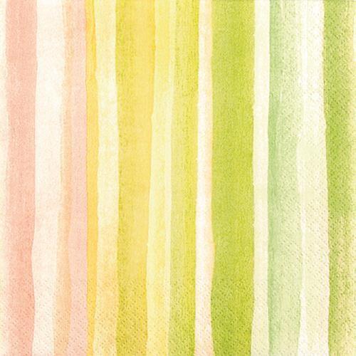 RP 20 Servietten Watercolours yellow/green - Streifen Wasserfarben gelb/grün 33x33cm