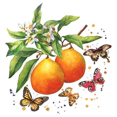 20 Servietten Fruity Butterflies – Schmetterlinge an Obst 33x33cm