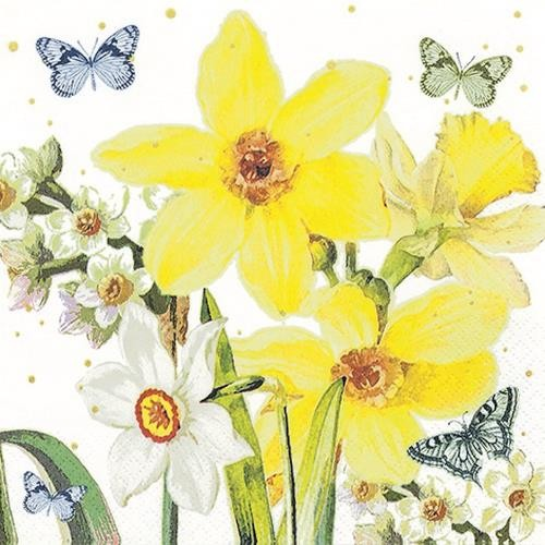 Home Fashion Servietten Watercolor Narcissus 33x33cm