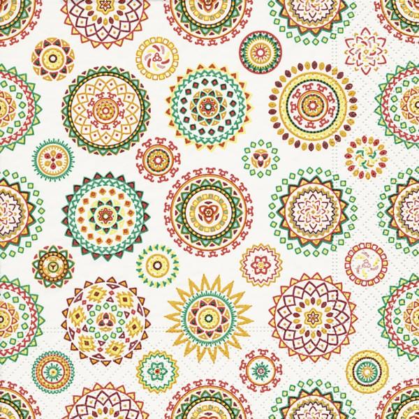 20 Servietten Colourful Rosettes - Farbige Rosetten 33x33cm