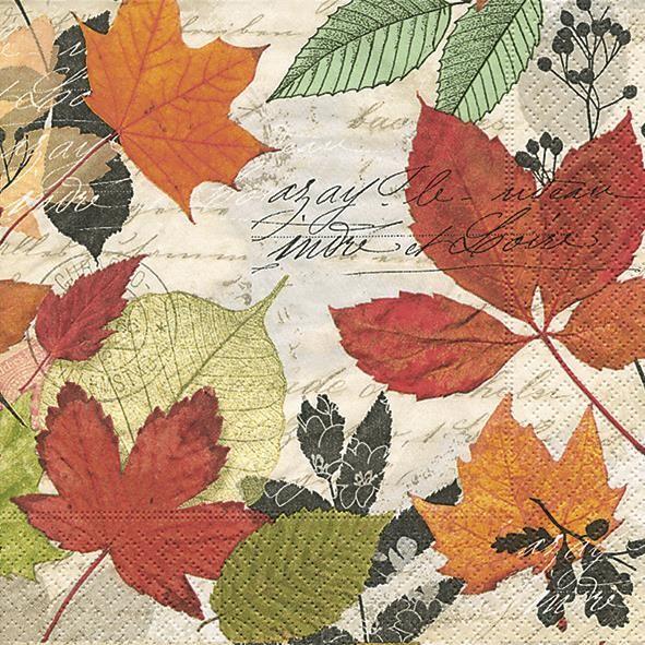 20 Servietten Herbarium - Bunte Blättersammlung 33x33cm