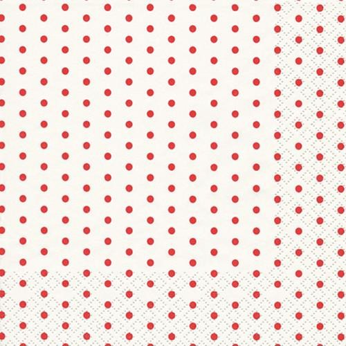 RP 20 Servietten Mini Dots white/red - Mini-Punkte weiß/rot 33x33cm
