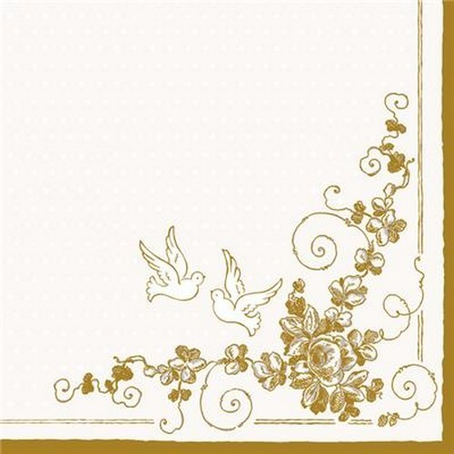 20 Servietten White Doves – Tauben an Bordüre 33x33cm