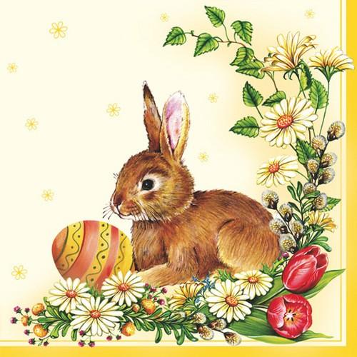 Maki Servietten Easter Egg & Hare yellow 33x33cm