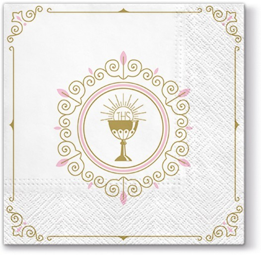 20 Servietten First Communion light pink - Erstkommunion rosa 33x33cm