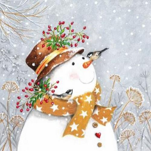 20 Servietten Snowman with Golden Scarf 33x33cm
