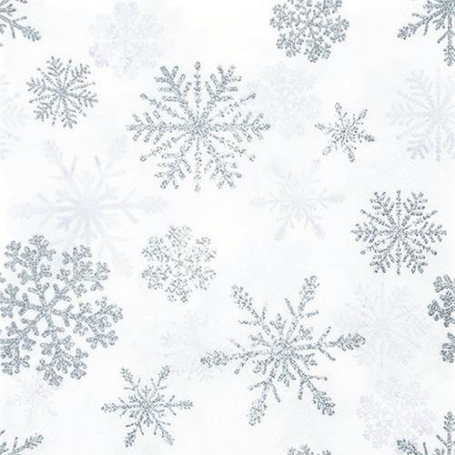 Servietten Snow Crystals silver