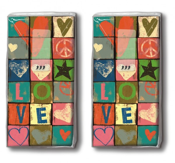DP 10 Taschentücher Love and Peace