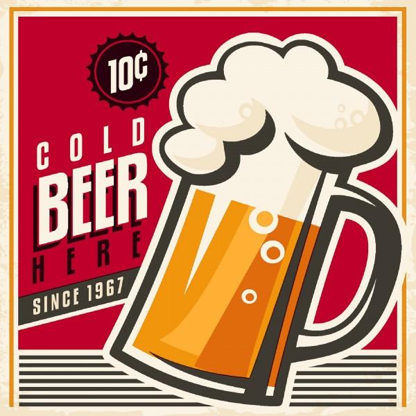 20 Cocktailservietten Cold Beer – Gekühltes Bier 24x24cm