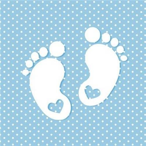 20 Servietten Little Feet blue