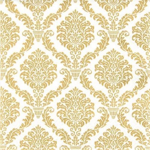 20 Cocktail Servietten Elegant gold - Muster gold 25x25cm